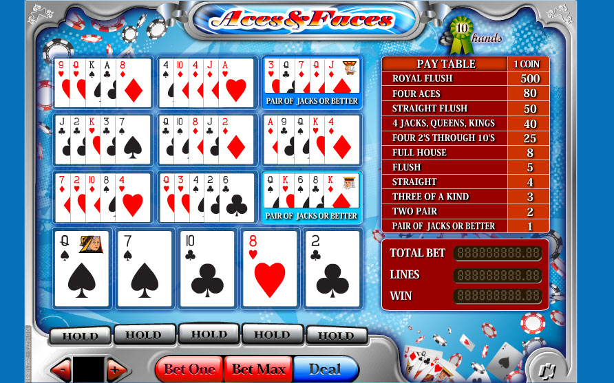Aces And Faces 25 Lines Video Poker Online | Casino.com